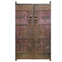 Pair of Antique Doors with Elaborate Iron Motifs