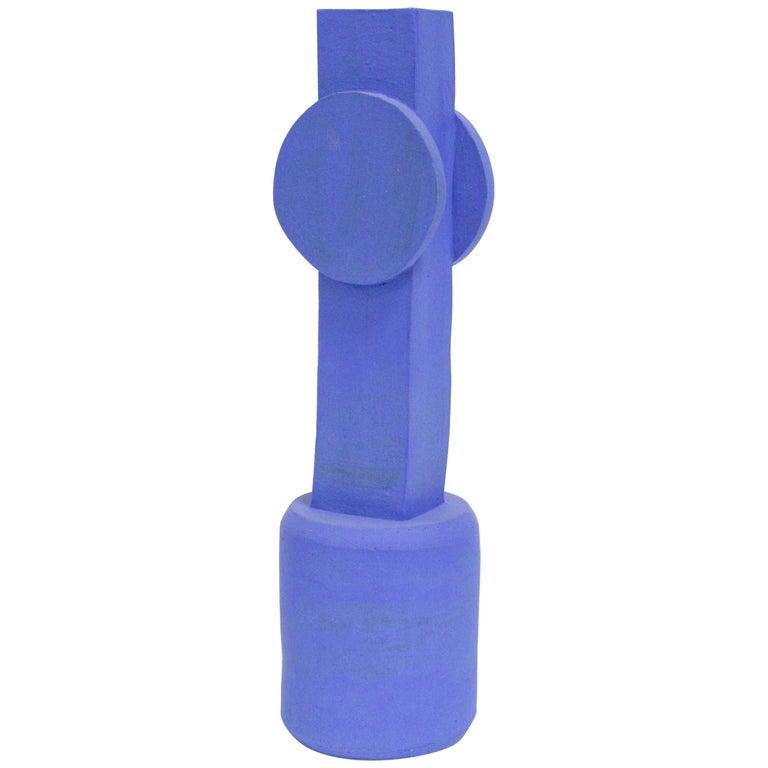 Medium Klein Blue Circle Top Ceramic Vase For Sale