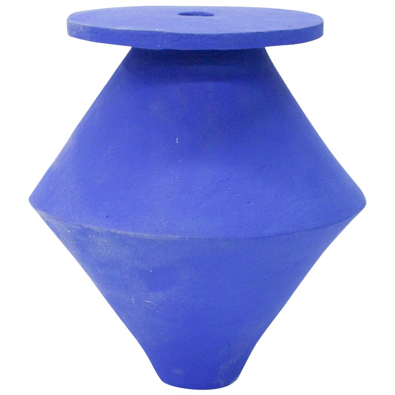 Large Klein Blue Diamond Vase Ceramic For Sale