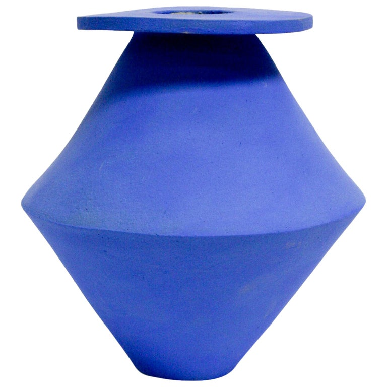 Jumbo Klein Blue Diamond Ceramic Vase For Sale