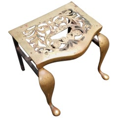 Brass Footman Fireplace Stool, 19th Century