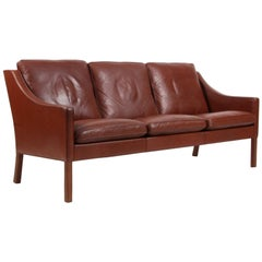 Børge Mogensen Three-Seat Sofa in Original Brown Leather, Model 2209
