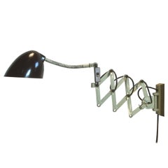 Green Industrial Scissor Wall Lamp, 1960s