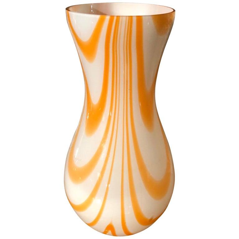 Mid-Century Modern White and Orange Opaline Murano Vase, 1970 1