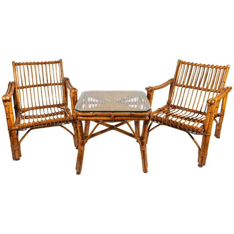 Pair of Armchairs with Coffee Table, Bamboo, circa 1970, France For Sale