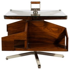 Ico Parisi, Coffee Table with Rotating Shelves, Rosewood, circa 1960, Italy