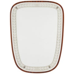 1940s Swedish Art Deco Mirror, Etched Glass and Mahogany