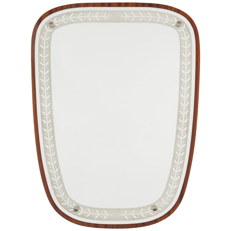 1940s Swedish Art Deco Mirror, Etched Glass and Mahogany For Sale