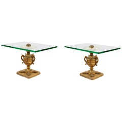 Pair of Italian Hand Carved Wood and Glass Top Side Tables
