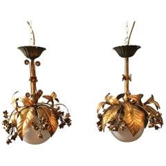 Banci Firenze, 1950s Gilt Globe Pendant Lights