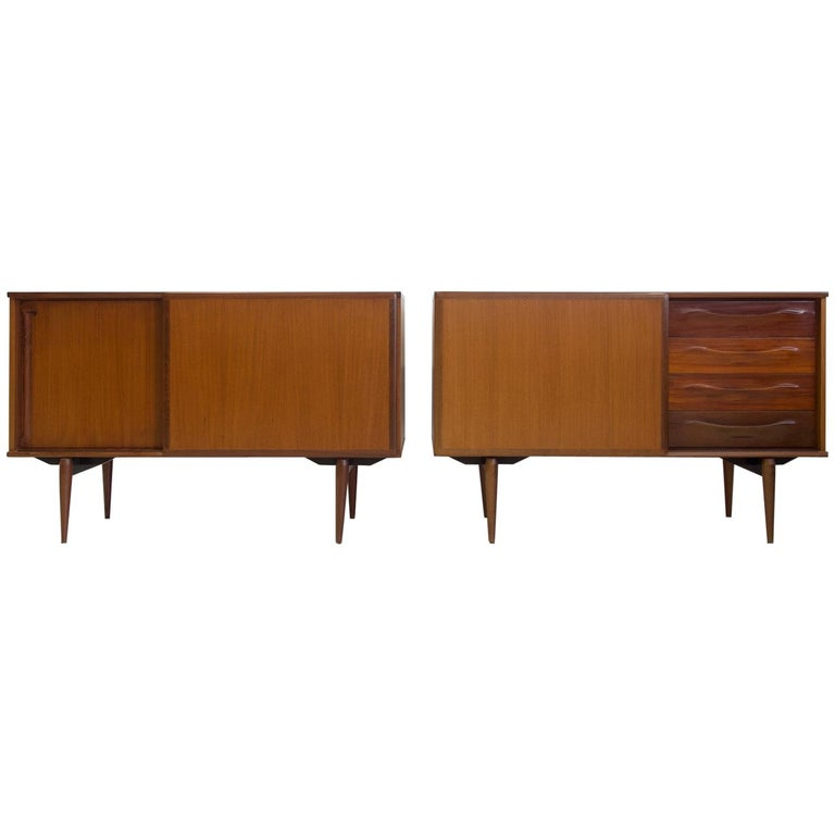 Pair of Teak Credenzas with Sliding Doors by Amma, Italy For Sale