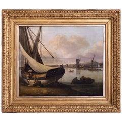 John Thomas Serres, Fine Harbour Painting, Signed, 19th Century
