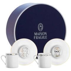 Chers Parisiens, Box of 4 Limoges Porcelain Coffee Cups