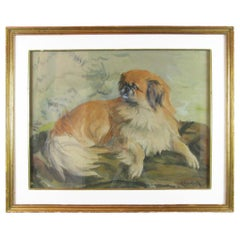Dog Painting 20th Century French Pekingese Portrait by A Gauthier