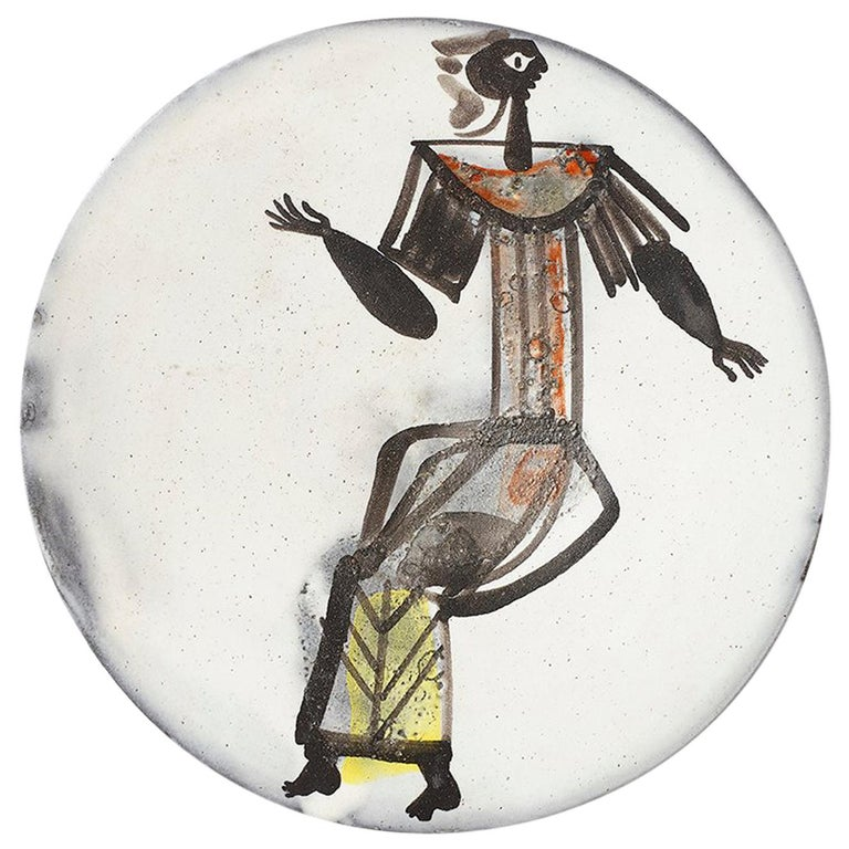 Roger Capron Plate, circa 1950 For Sale