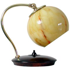 German 1930s Brass, Wood and Marbled Glass Table Lamp, Bauhaus Art Deco Period