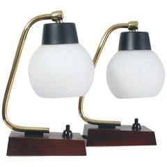 Midcentury Scandinavian Modern Teak and Opal Table Lamps, Set of 2