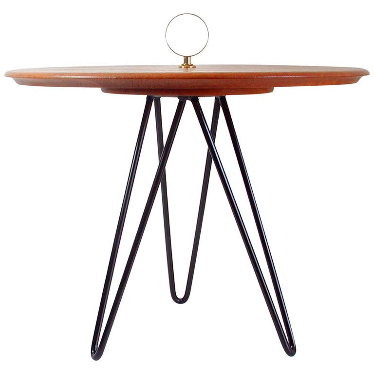 Midcentury Teak, Brass and Cast Iron Tripod Side Table by Digsmed, Denmark For Sale