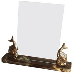 French Art Deco Marble and Fish Photo Frame