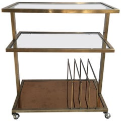 Midcentury Italian Brass Drinks Trolley Bar Cart