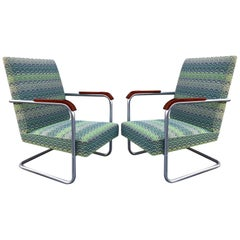 Pair of Cantilever Tubular Steel Armchairs Model FN22 by Anton Lorenz, 1930s