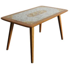 Midcentury Modern Design Swiss Wood and Mosaic Coffee Table, 1950s