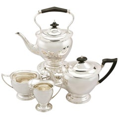 1910s English Sterling Silver Four-Piece Tea Service by James Deakin & Sons