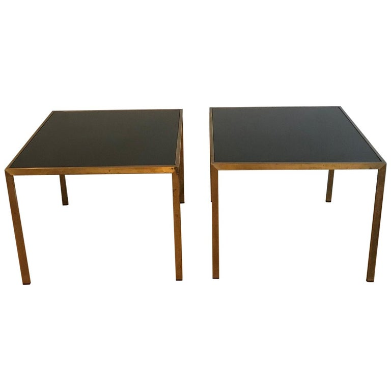 Pair of French 1970s Gilt Metal Tables For Sale