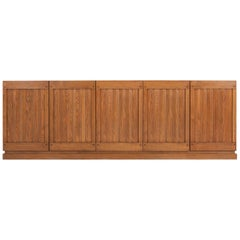 Brutalist Natural Oak Credenza with Geometric Door Panels