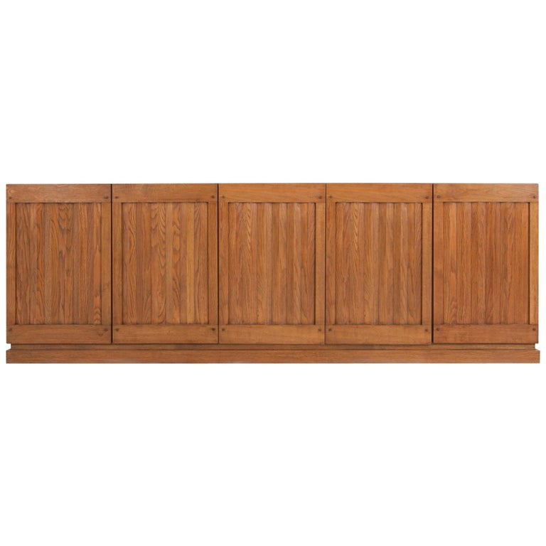 Brutalist Natural Oak Credenza with Geometric Door Panels For Sale