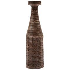 Bitossi Ceramic Vase Mauve Incised Impressed Geometric Signed Italy, 1960s