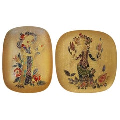 Pair of Rare Hand Painted Gilded Platter by Bjorn Winnblad, 1960s