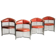 Four Italian Armchairs in Chrome Steel and Red Leather, 1960s