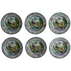 Set of Six Early Mason's Ironstone Plates in the Mogul Pattern, circa 1815
