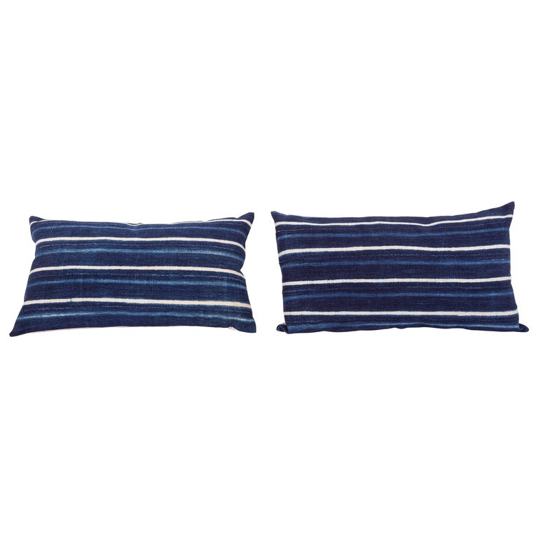 Vintage Indigo Pillow / Cushion Covers Fashioned from a Cloth from Mali Africa For Sale