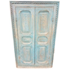 Moroccan Turquoise Old Window Frame, Glass Back