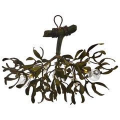 Sculptural Art Nouveau Mistletoe Bronze Chandelier, France, 1920s