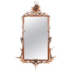 Antique 20th Century German Unusual Large Black Forest Mirror, circa 1900