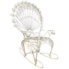 Mid Century Salterini White Wrought Iron Rocking Chair Rocker