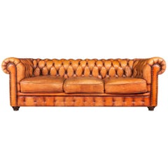 Stylish 20th Century Large Hand Dyed Leather Chesterfield Sofa, circa 1980