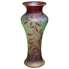 Baccarat Carved, Layered and Gilt Art Nouveau Raspberry Red Vase