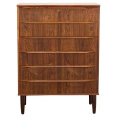 Midcentury Danish Chest of 6 Drawers in Rosewood with Long Drawer Handle