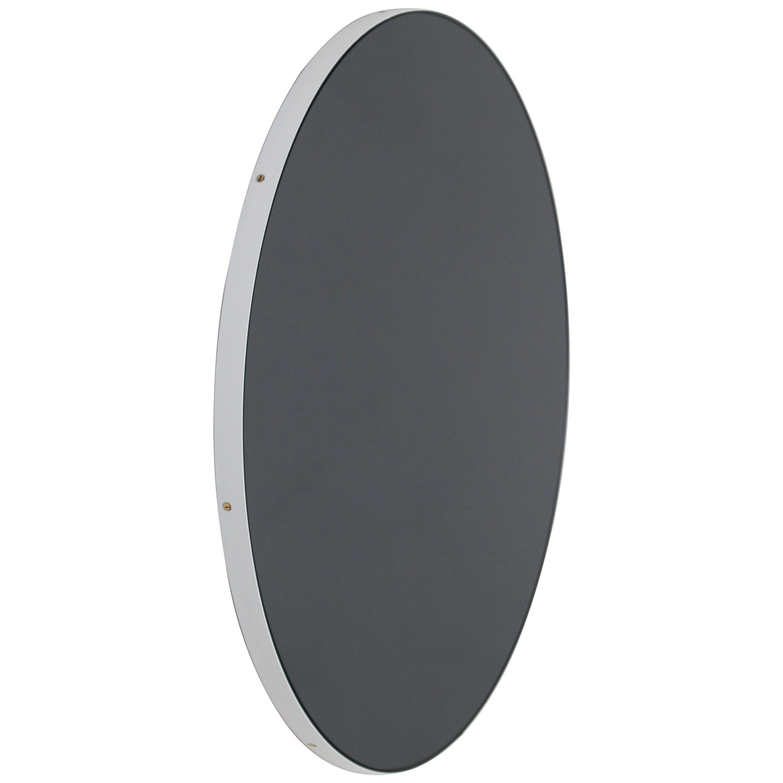 Orbis™ Black Tinted Circular Minimalist Mirror with White Frame - Small
