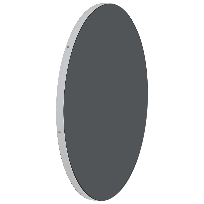 Orbis™ Black Tinted Modern Round Mirror with White Frame