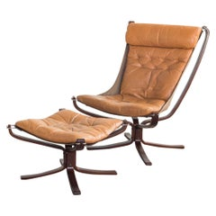 Midcentury High Back Falcon Chair and Ottoman by Sigurd Ressell for Vatne Møbler
