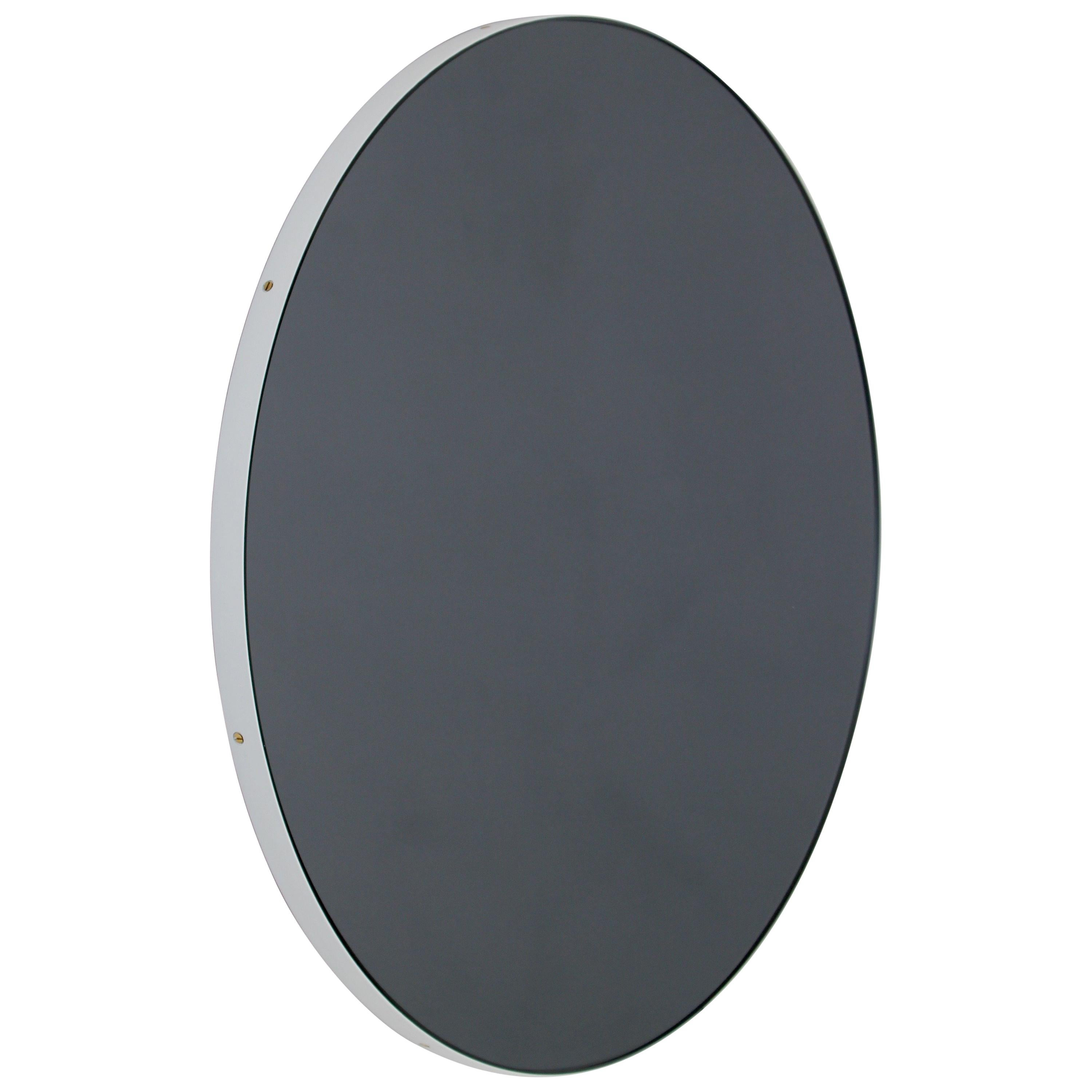 Orbis™ Black Tinted Bespoke Contemporary Round Mirror with White Frame - Large