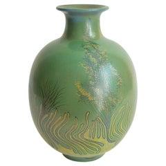 Large Green Vase Italian Pottery Marine Fauna Decor by Giacomo Onestini, 1970s