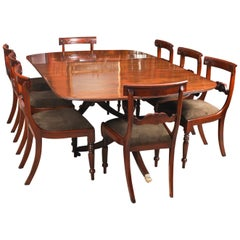 George III Regency Dining Table 19th Century with 8 Bespoke Dining Chairs