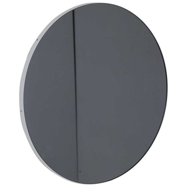 Modern Art Deco Black Tinted Orbis™ Round  Oversized Mirror with White Frame For Sale
