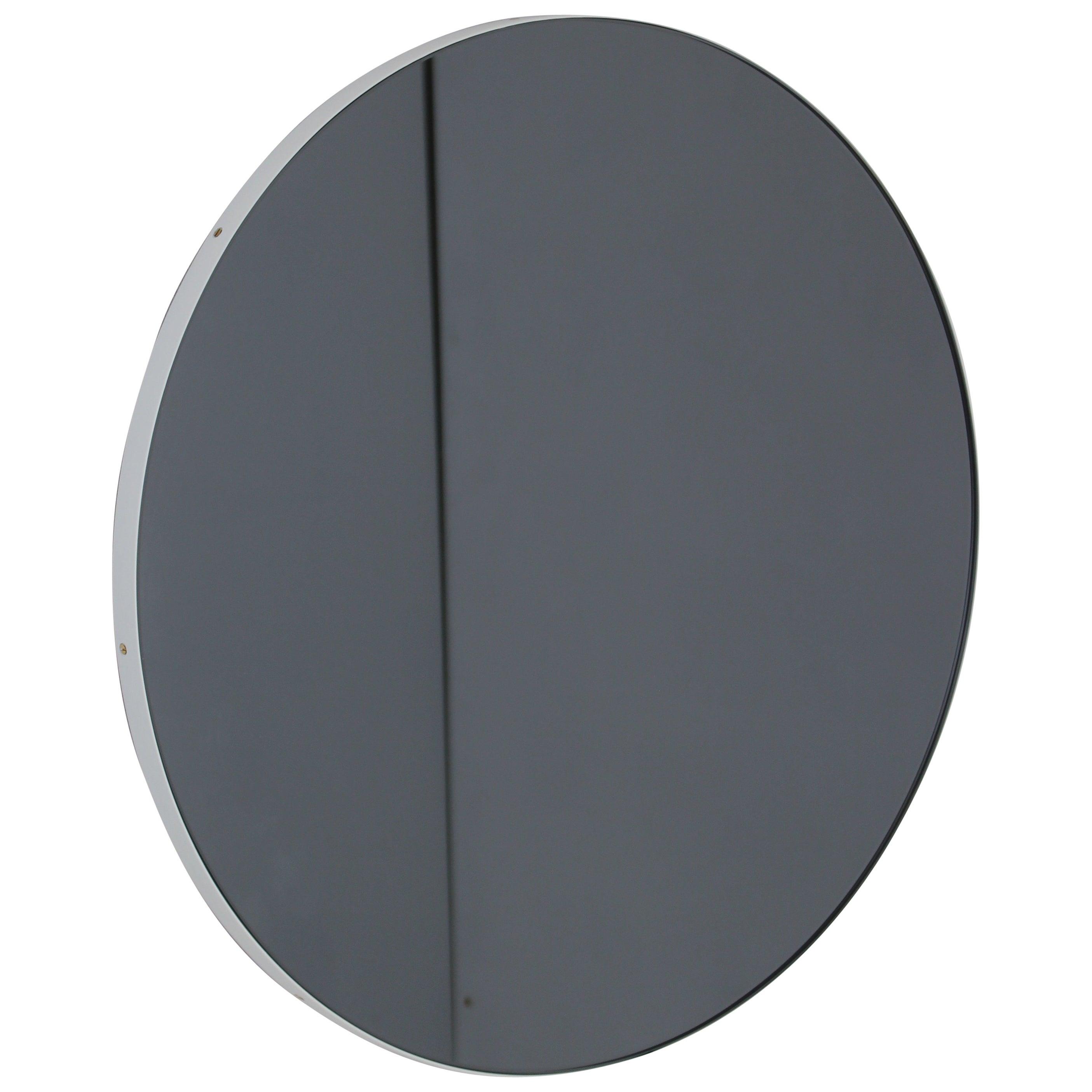 Orbis™ Round Black Tinted Modern Art Deco Mirror with White Frame - Oversized